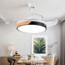 4 Blades Circle Hanging Fan Light Nordic Metal Dining Room LED Semi Flush Light in Wood-Black-White, 19