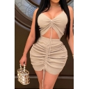 Leisure Women's Set Solid Color Ruched Front V Neck Sleeveless Slim Fitted Tank Top with High Waist Skirt Co-ords