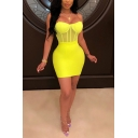 Sexy Women's Set Solid Color Patchwork Mesh Gauze Design Strap Sweetheart Neck Slim Fitted Tank Top with Mini Skirt Co-ords