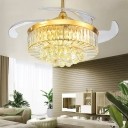 4-Blade Gold Round Pendant Fan Lighting Modern Crystal LED Semi Flush Ceiling Light Fixture, 19