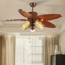 Brown Leaf Pull Chain Pendant Fan Lamp Farmhouse Wood 42