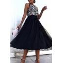 Trendy Women's A-Line Dress Patchwork Mesh Gauze Sparkling Sequins Detail Round Neck Sleeveless Regular Fitted A-Line Dress