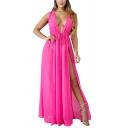 Womens Dress Stylish Solid Color Chiffon Double High Slit Drawstring-Waist Sleeveless Maxi Slim Fitted Deep V Neck A-Line Beach Dress