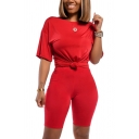 Leisure Women's Co-ords Solid Color Crew Neck Short Sleeves Regular Fitted Tee Top with Shorts Set