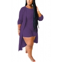 Trendy Women's Co-ords Space Dye Pattern Crew Neck Slim Fitted Bodysuit with Open Front Long Sleeves Tunic Cardigan Set