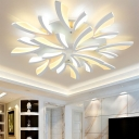3/5/12-Light LED Hotel Ceiling Mount Light Modern White Semi Flush Mount with Coral Acrylic Shade, Warm/White Light
