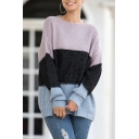 Stylish Sweater Color Block Rib-Knitted Cuffs Long Sleeve Crew Neck Relaxed Fitted Sweater for Women