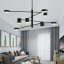 6/8-Head Modern LED Chandelier Black/Gold Branching Hanging Pendant Light with Acrylic Shade