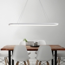 Metallic Oblong Slim Island Light Minimalist Black/White LED Hanging Pendant over Dining Table, 27