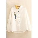 Basic Womens Shirt Beauty Embroidered Pinstripe Print Two Tone Button up Contrast Spread Collar Long Sleeve Loose Fit Shirt