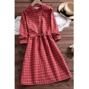 Basic Blouse Dress Plaid Printed Drawstring Waist Button Detail Stand Collar Long-sleeved Fitted Blouse Dress for Women
