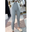 Creative Womens Leggings Solid Color Rib Knitted Thick High Rise 7/8 Length Slim Fitted Leggings