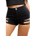 Womens Short Shorts Fashionable Plain Cut-out Buckle Decorated Zipper Fly Slim Fitted Relaxed Shorts