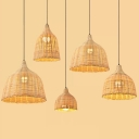 Handwoven Dome Pendant Light Fixture Chinese Bamboo Single Dining Table Ceiling Light in Beige, 10