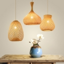 Hand-Woven Bellied/Pot/Onion Hanging Light Asian Style Bamboo 1 Bulb Beige Pendant Lighting Fixture