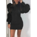 Elegant Women's Bodycon Dress Solid Color Long Puff Sleeves Slim Fitted Short Bodycon Dress