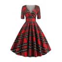 Retro Womens Dress Plaid Print Panel Surplice Neck Short Sleeve A-Line Slim Fitted Midi Swing Dress