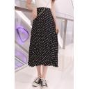 Chic Polka Dot High Waist Pleated Midi Skirt