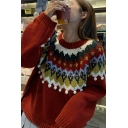 Vintage Women's Graphic Sweater Geometric Pattern Ribbed Trim Round Neck Long Sleeves Regular Fitted Sweater