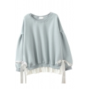 Leisure Women's Sweatshirt Patchwork False Two Pieces Lace up Ribbed Trim Crew Neck Long Sleeves Loose Fitted Pullover Sweatshirt