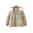 Stylish Womens Down Coat Plain Side Pocket Fur Hooded Button Detail Zip Fly Quilted Long Sleeves Relaxed Fit Down Coat
