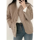 Casual Women's Coat Solid Color Quilted Button-down Collarless Long-sleeved Relaxed Fit Jacket