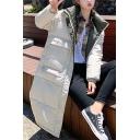Womens Warm Plain Long Sleeve Flap Pocket Zip Up Longline Padded Puffer Coat with Hood