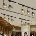 Wire Cage Restaurant Track Light Industrial Iron 2/3-Head Black/White/Rust Rotatable Semi Flush Mount Ceiling Light