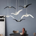 Black/White Gull Cluster Pendant Light Artistry 3-Head Resin Hanging Lamp with Round/Linear Canopy for Dining Room