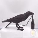 Art Deco Bird Night Light Resin Single-Bulb Bedroom Table Light in Black/White with Open Bulb Design