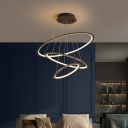 3/4 Tiers Ring Ceiling Chandelier Simple Acrylic Living Room LED Hanging Ceiling Light in Gold/Coffee