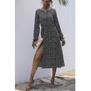Fancy Womens A-Line Dress Polka Dot Pattern Button Detailed Drawstring Cuffs Boat Neck Long Sleeves Regular Fitted Midi A-Line Dress