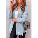 Retro Womens Jacket Faded Wash Ripped Frayed Hem Chest Pocket Button up Turn-down Collar Slim Fit Long Sleeve Denim Jacket