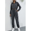 Womens Jogger Co-ords Stylish Plain Drawstring-Hem Long Sleeve 1/4 Zipper Stand Collar Cropped Sweatshirt Slim Fitted Pants Co-ords