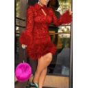 Womens Dress Stylish Fur-Trimmed Cuffs and Hem Keyhole Front Turn-down Collar Long Sleeve Slim Fitted Short Bodycon Dress