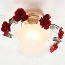 Red Rose Semi Mount Lighting Korean Flower 1 Bulb Bathroom Ceiling Flush Light with Frosted Glass Shade