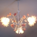Blossoming Flower White Glass Pendant Light Countryside 3 Bulbs Kitchen Ceiling Chandelier in Pink