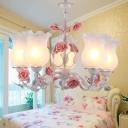 Ivory Glass Floral Up Chandelier Romantic Pastoral 5 Lights Bedroom Hanging Pendant in Pink