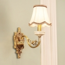 Antiqued Scalloped/Flared/Tapered Wall Light 1/2-Bulb Fabric/Milky Glass Wall Mounted Reading Lamp in Gold for Bedroom