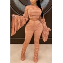 Fancy Womens Set Ruched Design Solid Color Long Flare Cuff Sleeves off the Shoulder with High Waist Long Pants Co-ords