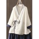Womens Shirt Fashionable Contrast Trim Tie Wrap Front Loose Fit Long Sleeve Surplice Neck Shirt