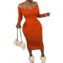 Fancy Women's T-Shirt Dress Cold Shoulder Solid Color Scoop Neck Long Sleeves Slim Fitted Long T-Shirt Dress