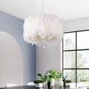 Drum Shaped Restaurant Drop Lamp Feather 5-Light Simplicity Chandelier Light Fixture in White with Crystal Droplet