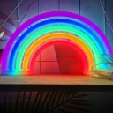 Plastic Rainbow Night Stand Lamp Cartoon White LED Wall Light with USB Plug-in Cord