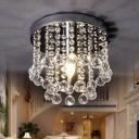 Nickel Draped Ceiling Mount Lamp Modern 1 Head Crystal Small/Medium/Large Semi Flush Mount Light
