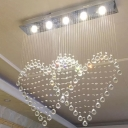 3/5/6-Light Ceiling Flush Mount Modern Loving Heart Shaped Crystal Flush Light in Stainless Steel