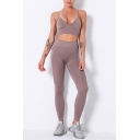 Fancy Women's Yoga Set Solid Color Quick Dry Scoop Neck Strap Sleeveless Sim Fitted Crop Top with High Waist Skinny Pants Fitness Co-ords