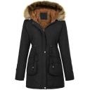 Sherpa Lined Long Sleeve Plain Zip Placket Hooded Parka Coat