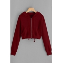 Classic Womens Hoodie Letter Pattern Full-Zipper Drawstring Regular Fitted Long Sleeve Cropped Hoodie