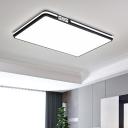 Black Rectangle/Square/Round Ceiling Flush Simple LED Acrylic Flush Mount Light with Glow Sidebar, White/3 Color Light